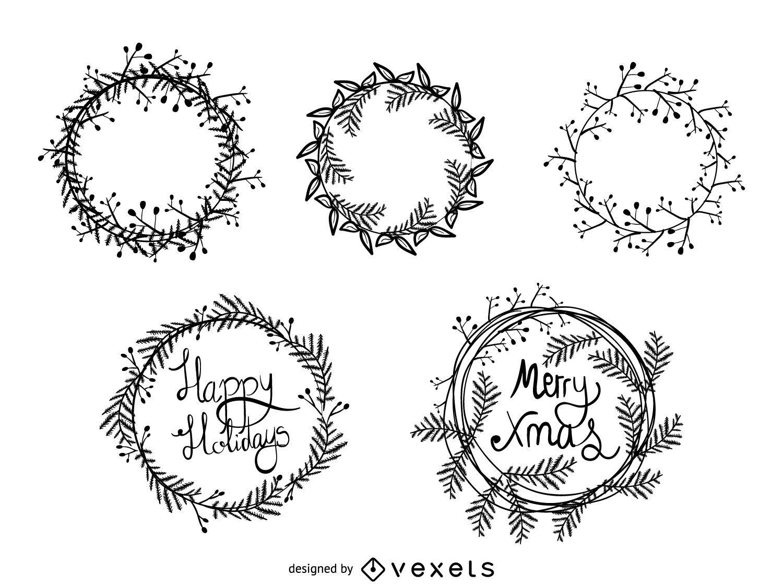 Conjunto de corona de Navidad en blanco y negro