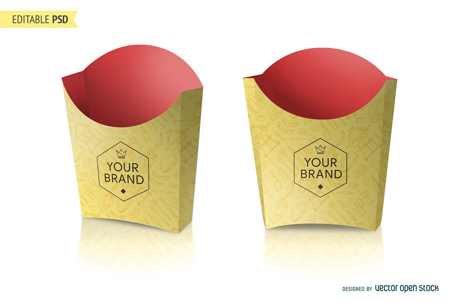 French Fries Packaging Mockup PSD Download Large Image 1500x1000px License User