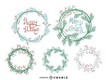 Conjunto de corona de Navidad dibujados a mano