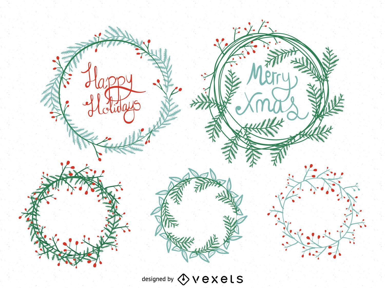 Conjunto de corona navideña dibujada a mano