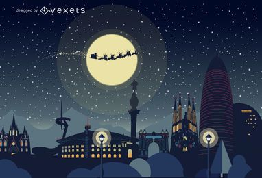Barcelona Christmas skyline
