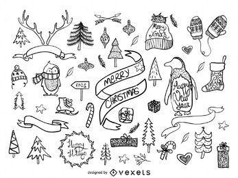 Dibujado a mano elementos de Navidad