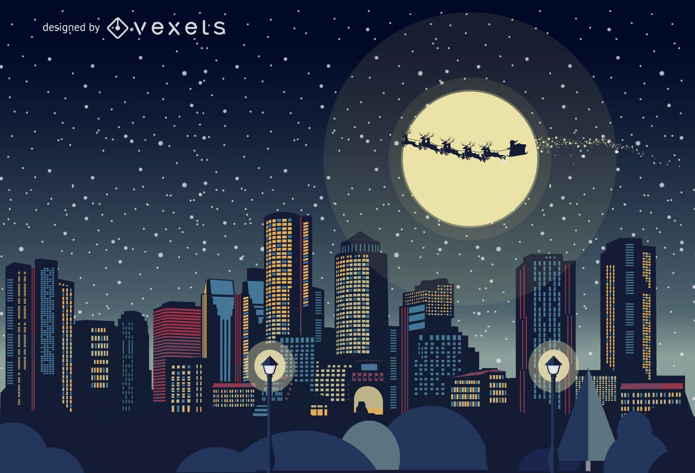 Boston Christmas skyline