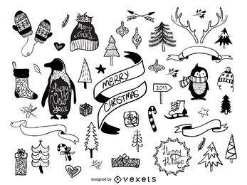 dibujado a mano elementos de Navidad Pack