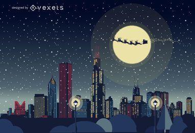 Horizonte de Chicago de Navidad
