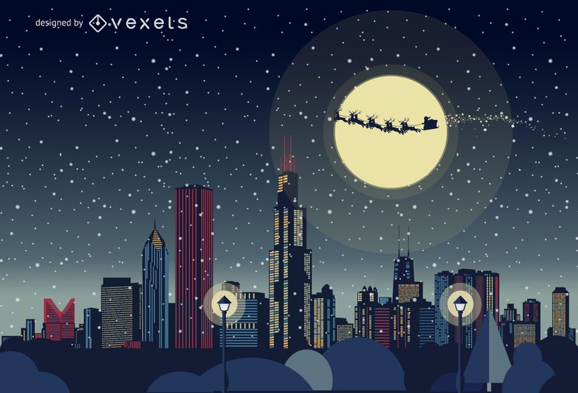 Chicago Christmas skyline