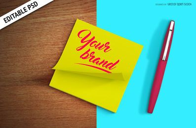 Nota de post it mockup PSD