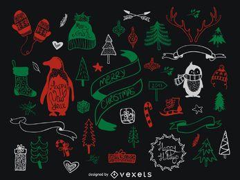 elementos verdes rojas de la Navidad fijados