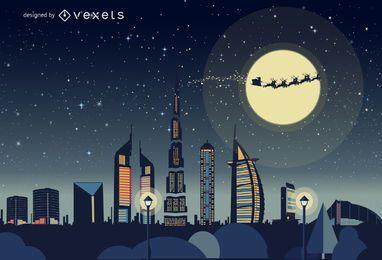Dubai horizonte de Navidad