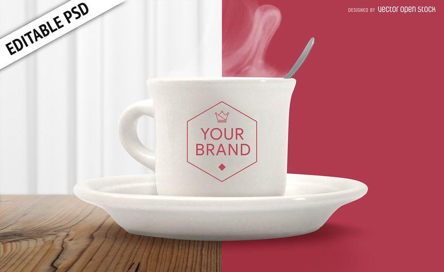 Xícara de café maquete PSD