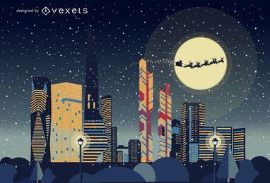 paisaje horizonte de Seúl de Navidad