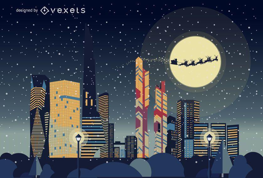Paisaje de horizonte de Navidad de Seúl