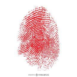 Red isolated fingerprint illustration