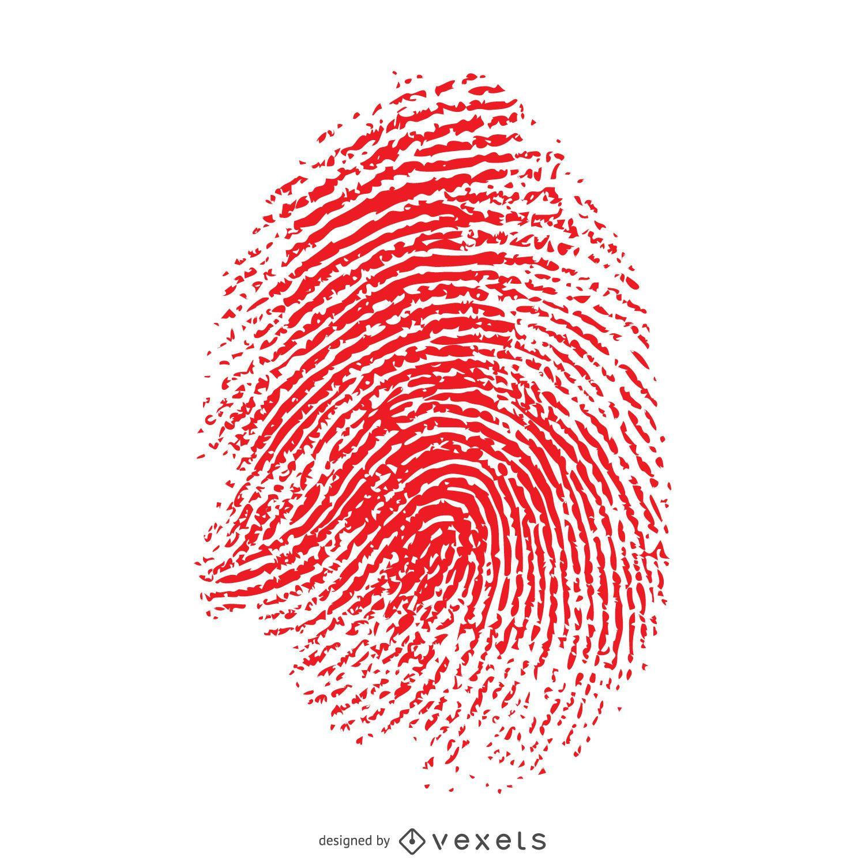 Red isolated fingerprint illustration