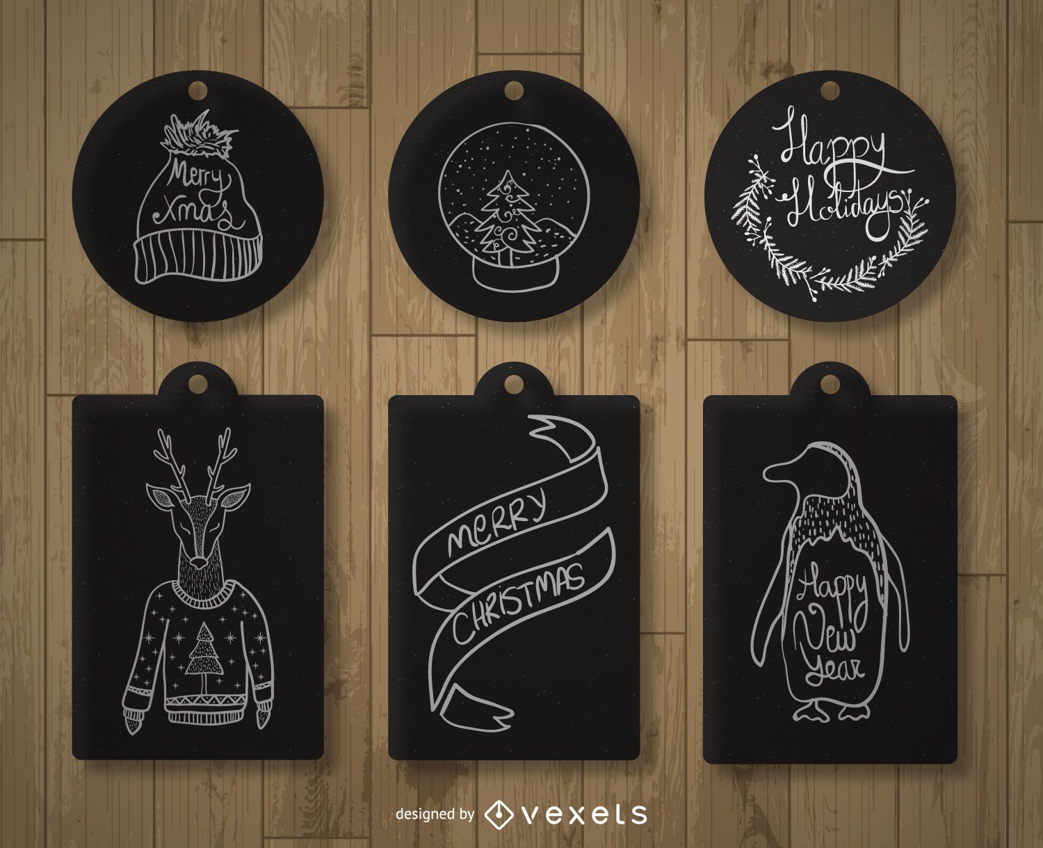 Christmas label tag set - Vector download
