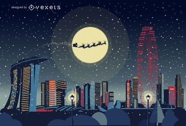Horizonte de Navidad de Singapur