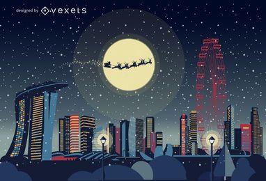 Singapore Christmas skyline