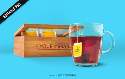 Maquete de saquinho de chá e caixa PSD