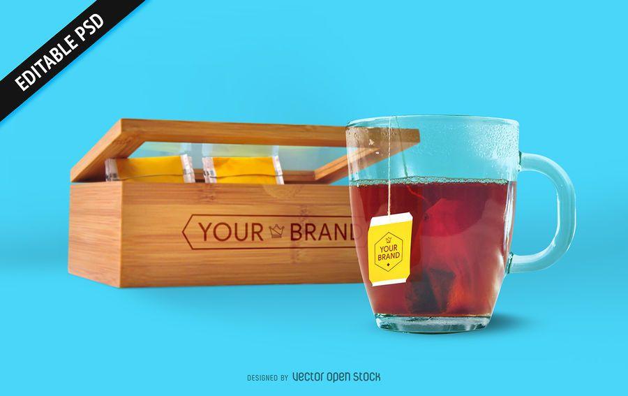 Bolsa de té y maqueta de caja PSD