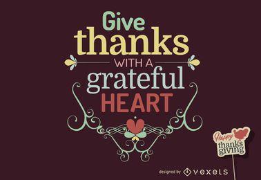 o design das citações de Ação de Graças