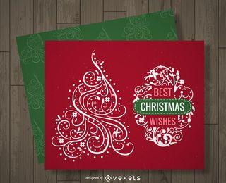 Diseño de tarjeta de Navidad de remolino