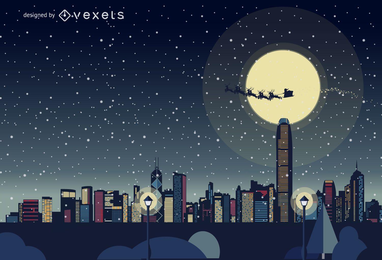 Hong Kong Christmas skyline