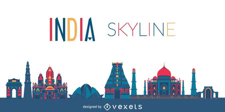 Silhueta de horizonte da Índia
