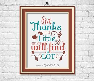 Cartel de cita de acción de gracias