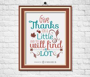 Cartel de la cita de acción de gracias