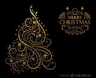 Diseño de tarjeta de Navidad de remolinos de oro.