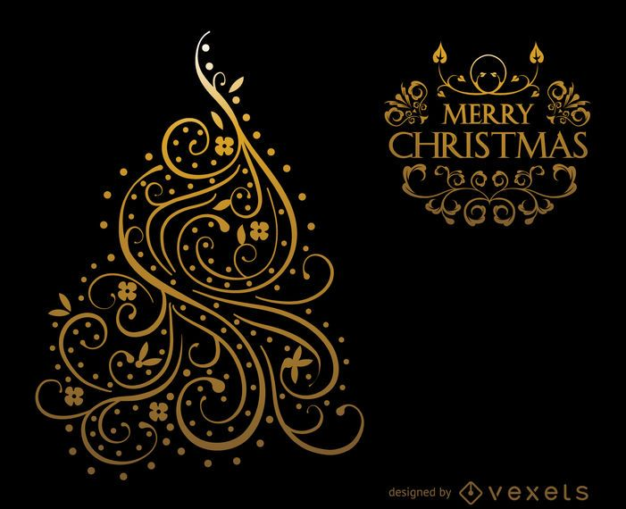 Gold wirbelt Weihnachtskartenentwurf