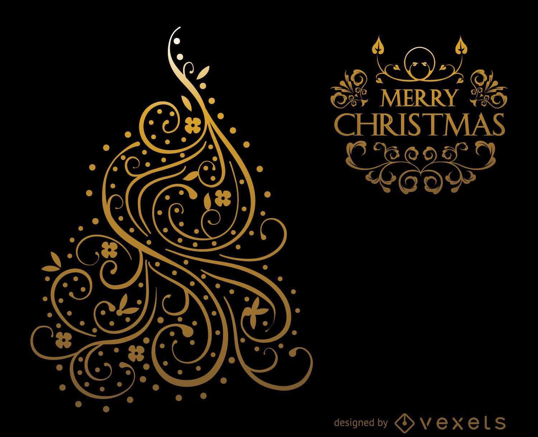 gold swirls christmas card design