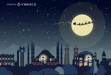 Istanbul Christmas skyline