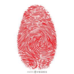 Ilustración de huella digital roja