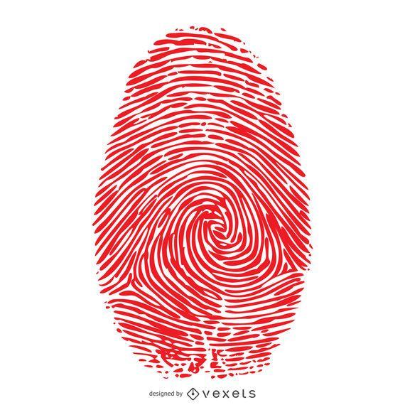 Ilustração de impressão digital vermelho