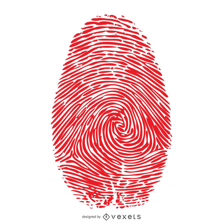 Red fingerprint illustration