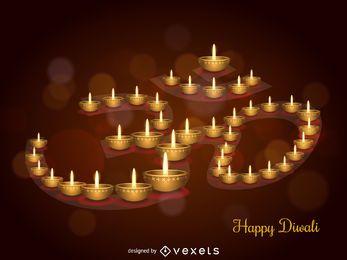 Diseño de ilustración de velas de Diwali