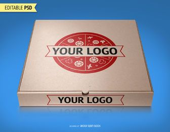 Maquete de embalagens de pizza PSD