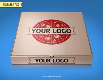 Pizza de envasado maqueta PSD