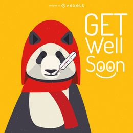 Get well soon panda card