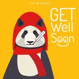 Get well soon panda card