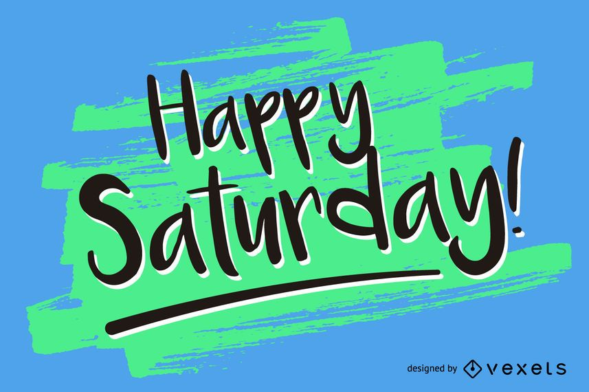 handwritten happy saturday vector download