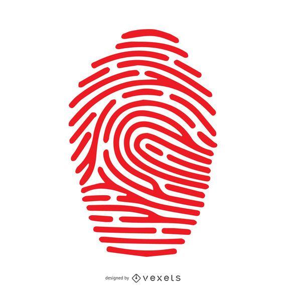 Ilustração de traço de impressão digital vermelho
