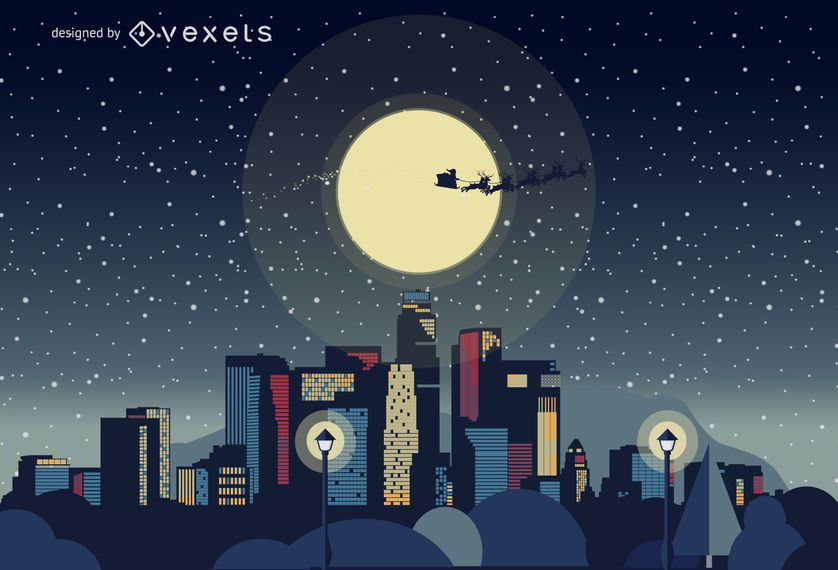 Christmas In Los Angeles.Los Angeles Christmas Skyline Vector Download
