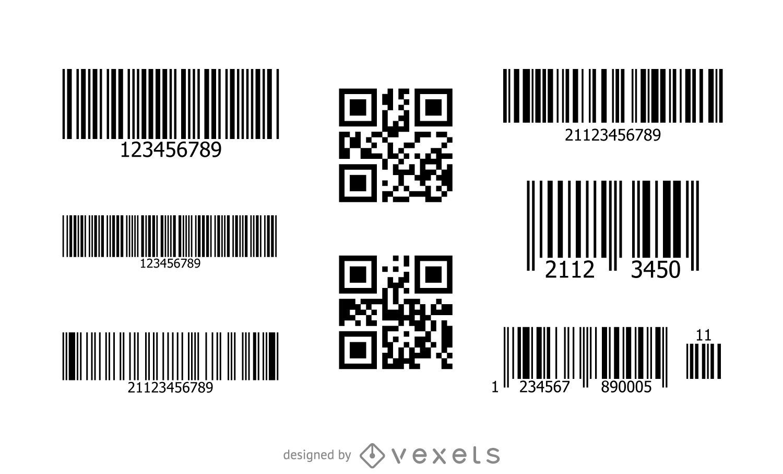 Conjunto de código QR de código de barras
