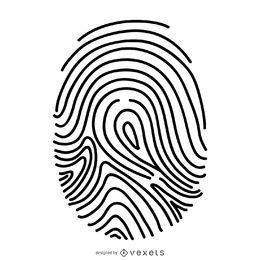 Ilustração de linha fina de impressão digital