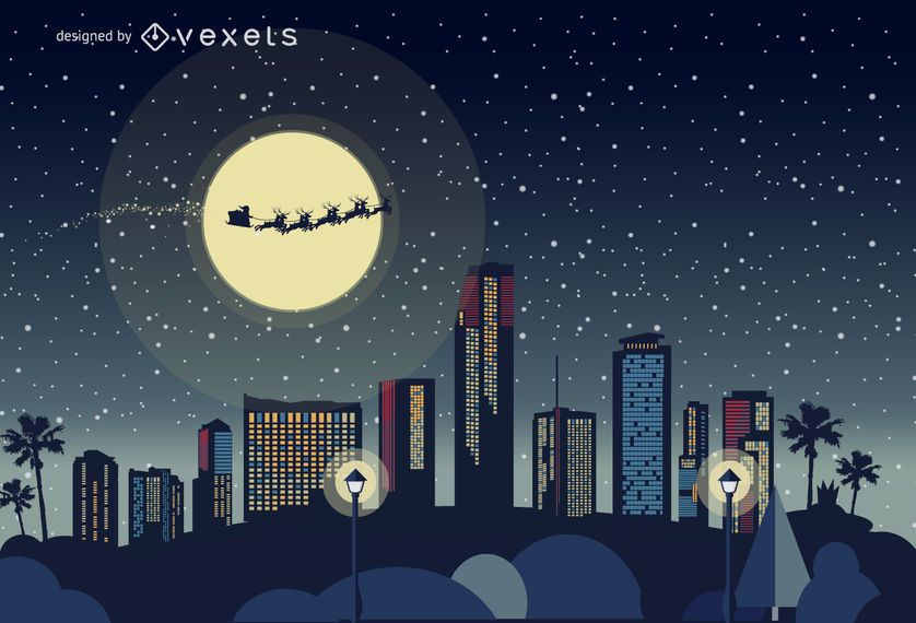 Miami Christmas skyline