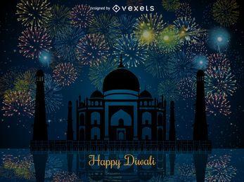 Diseño diwali con fuegos artificiales.