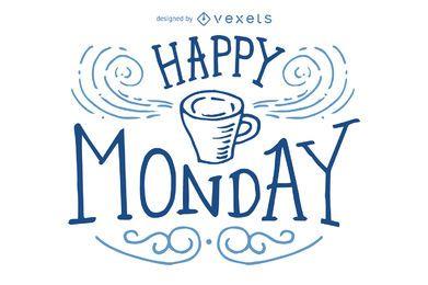 Feliz segunda-feira design de letras