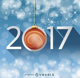 Sinal de 2017 com brilhos de bokeh